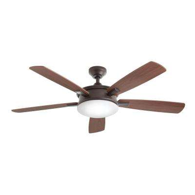Daylesford 52 in. LED Indoor Oiled Rubbed Bronze Ceiling Fan with Light Kit and Remote Control