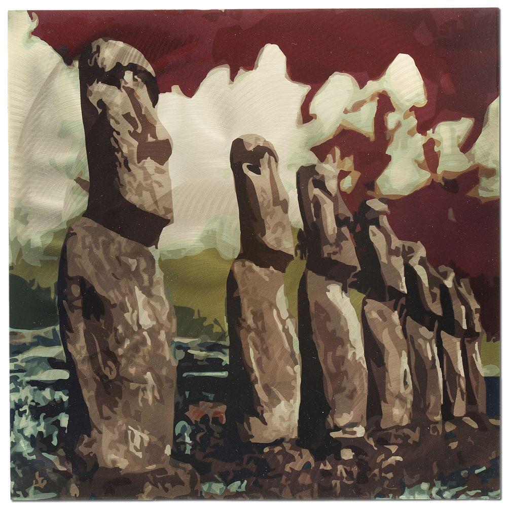 Filament Design Brevium 22 in. x 22 in. Easter Island Metal Wall Art