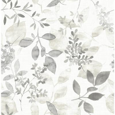 Gossamer Grey Botanical Paper Strippable Roll Wallpaper (Covers 56.4 sq. ft.)