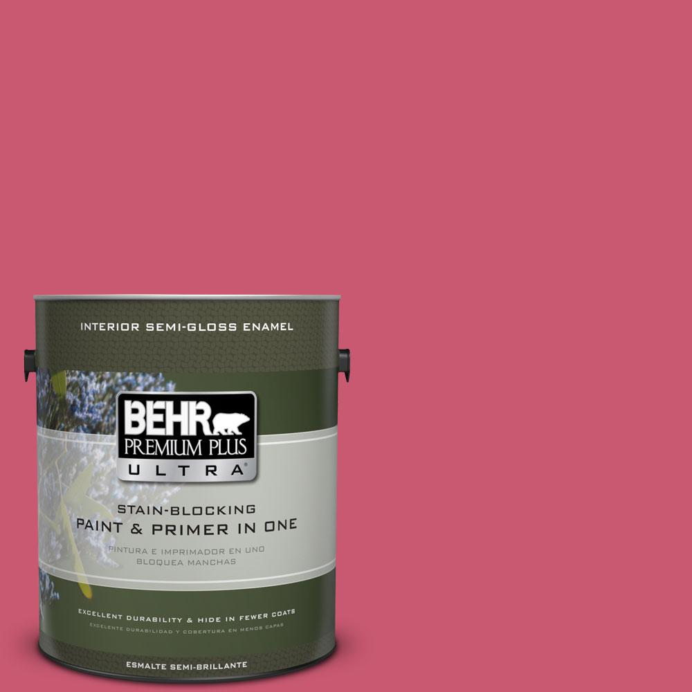 BEHR Premium Plus Ultra 1 gal. #T11-15 Pinkelicious Semi-Gloss Enamel Interior Paint and Primer in One