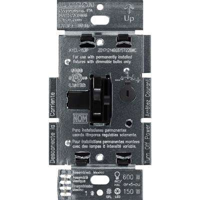 Toggler C.L Dimmer Switch for Dimmable LED, Halogen and Incandescent Bulbs, Single-Pole or 3-Way, Black