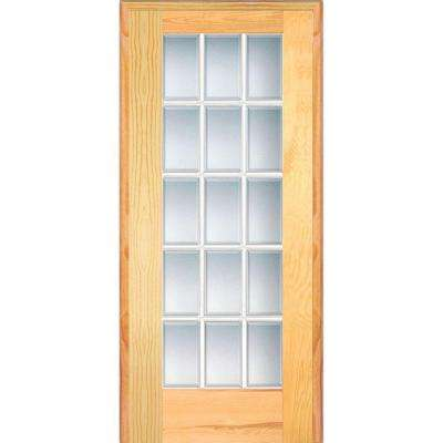 32 in. x 80 in. Right Handed Unfinished Pine Wood Clear Glass 15 Lite Beveled Single Prehung Interior Door