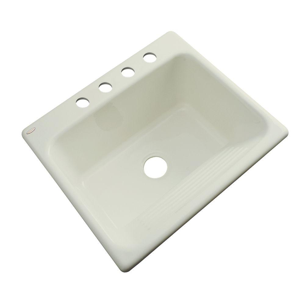 Thermocast Kensington Drop-In Acrylic 25 in. 4-Hole Single Bowl Utility Sink in Jersey Cream