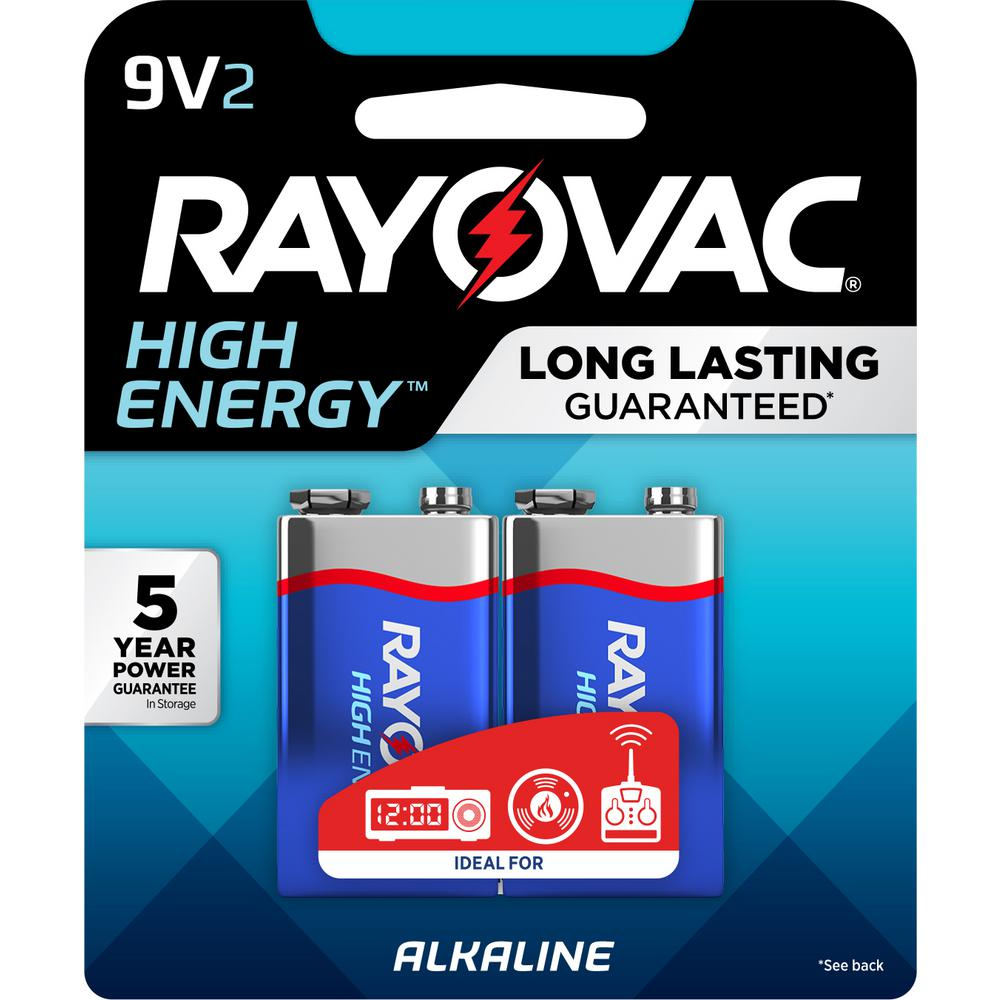 Rayovac High Energy Alkaline 9-Volt Battery (2-Pack)-A1604 ...