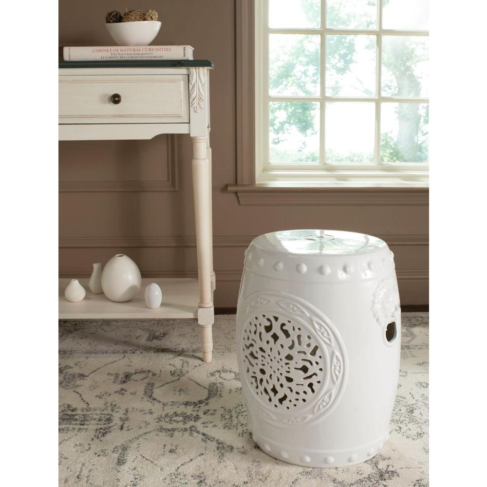 Mpg 19 1 2 In H Cast Stone Carved Garden Stool In White