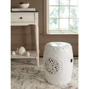 Flower Drum White Patio Stool