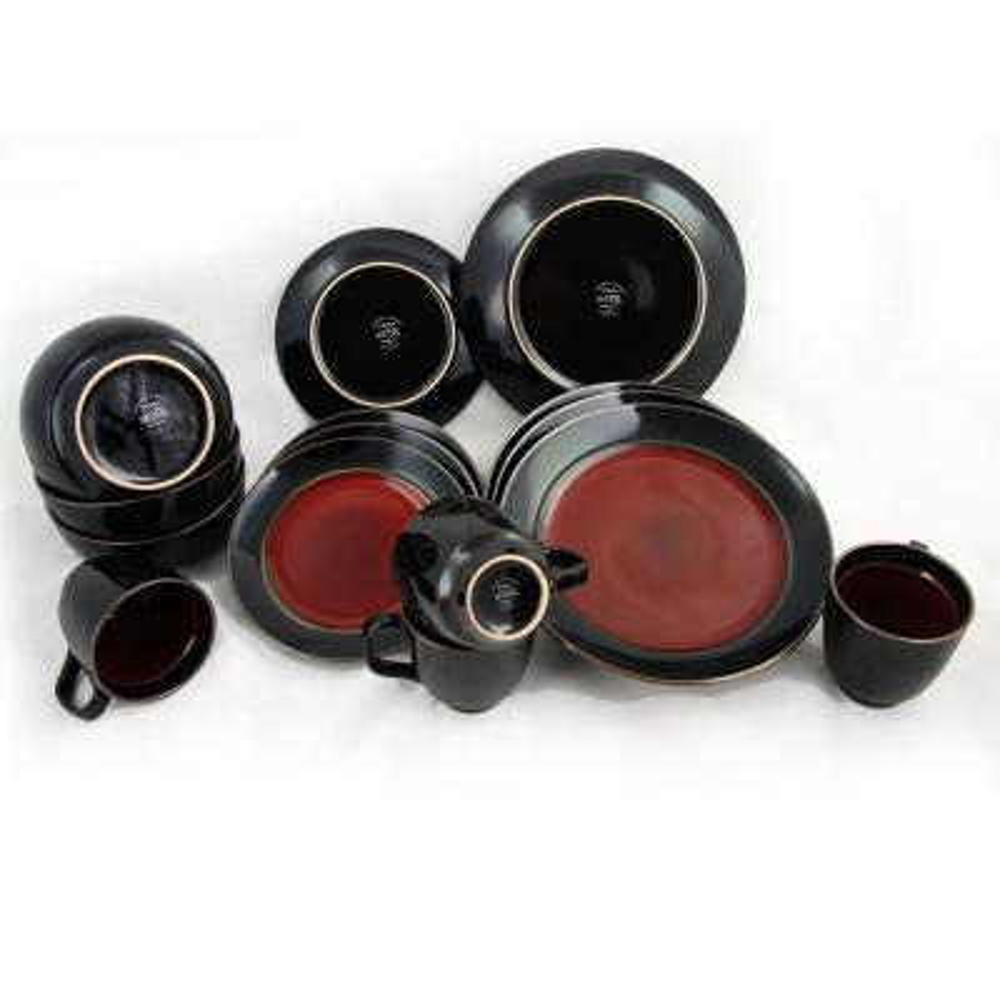 Bella Galleria 16-Piece Contemporary Black and Red Stoneware Dinnerware Set (Service for 4)