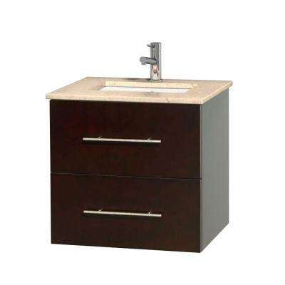 Centra 24 in. Vanity in Espresso with Marble Vanity Top in Ivory and Undermount Sink