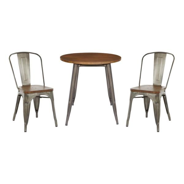 OSP Home Furnishings Indio Round Dining Table and 2-Chair Set with