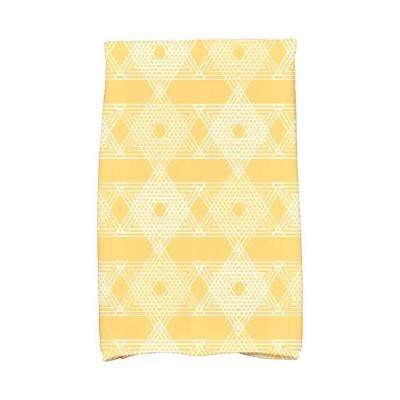 16 in. x 25 in. Yellow Star Light Holiday Geometric Print Kitchen Towel