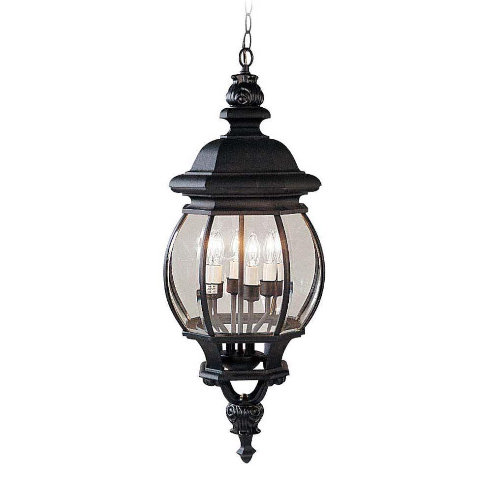 Providence 4-Light Black Incandescent Outdoor Pendant