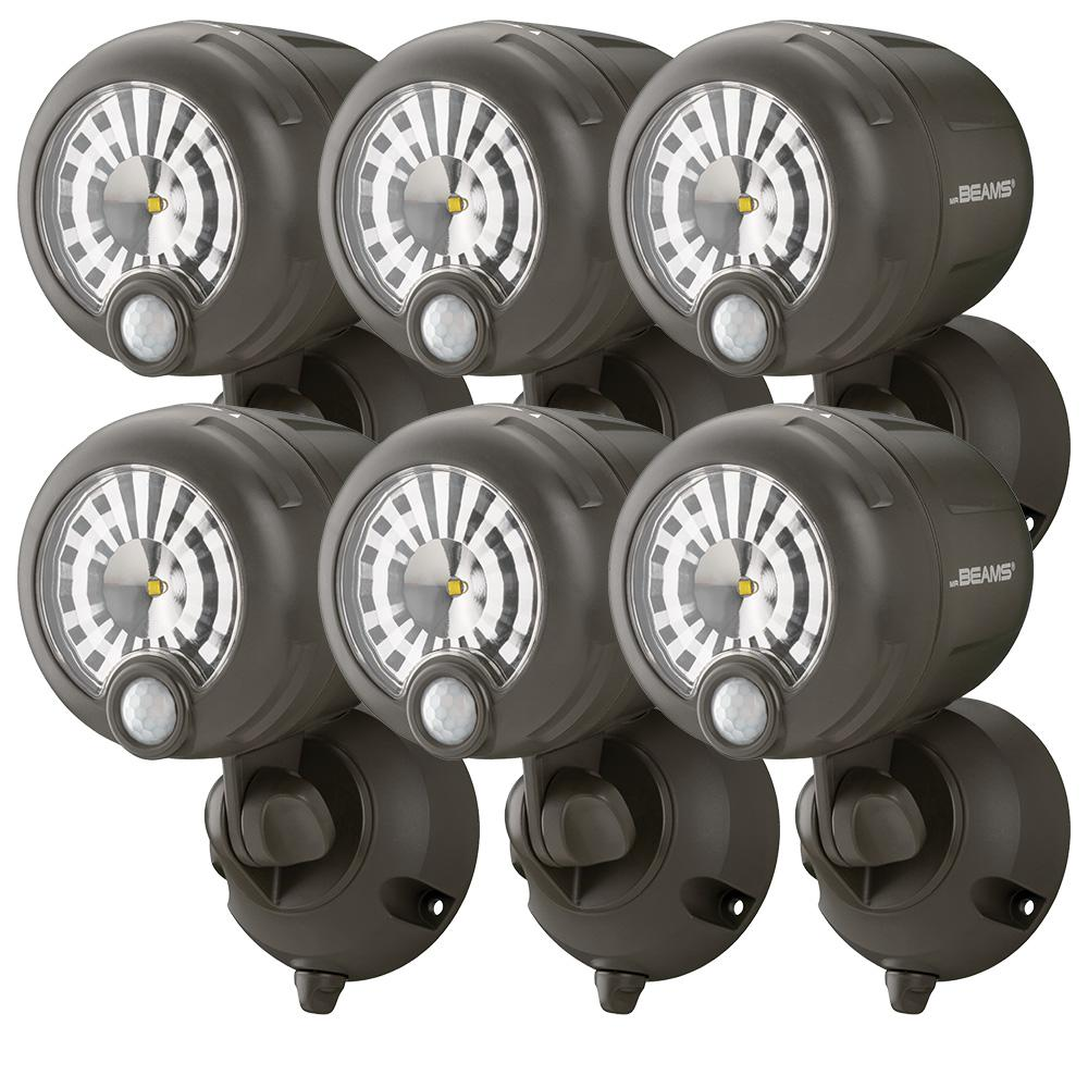 Mr Beams Wireless 120 Degree Bronze Motion Sensing Outdoor Integrated Led Security Spot Light 6 Pack