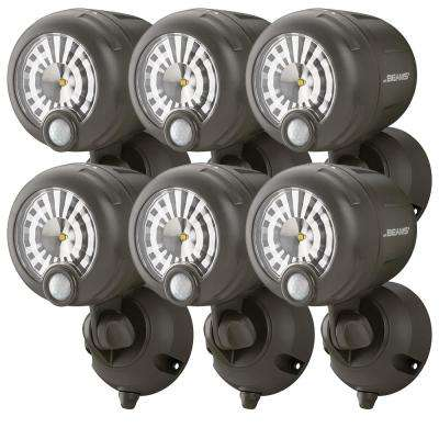 Wireless 120-Degree Bronze Motion Sensing Outdoor Integrated LED Security Spot Light (6-Pack)