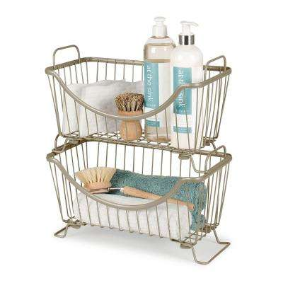 Ashley 12.625 in. W x 6.375 in. D x 7.625 in. H Small Stacking Basket in Satin Nickel Powder Coat