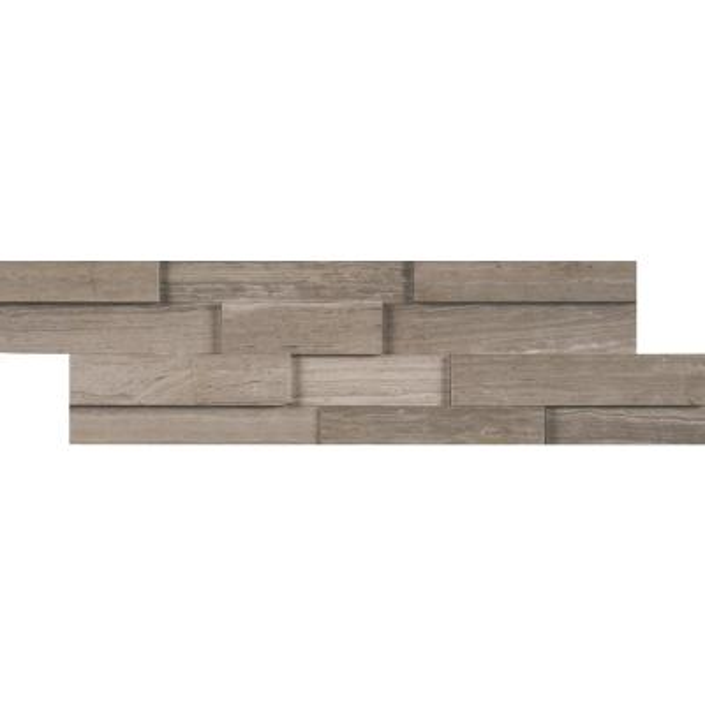 Gray Oak 3D Mini Ledger Panel 4.5 in. x 16 in. Honed Marble Wall Tile (5 sq. ft. / case)