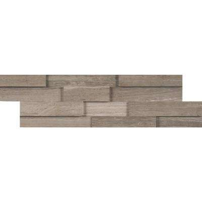 Gray Oak 3D Mini Ledger Panel 4.5 in. x 16 in. Honed Marble Wall Tile (5 sq. ft. / case)