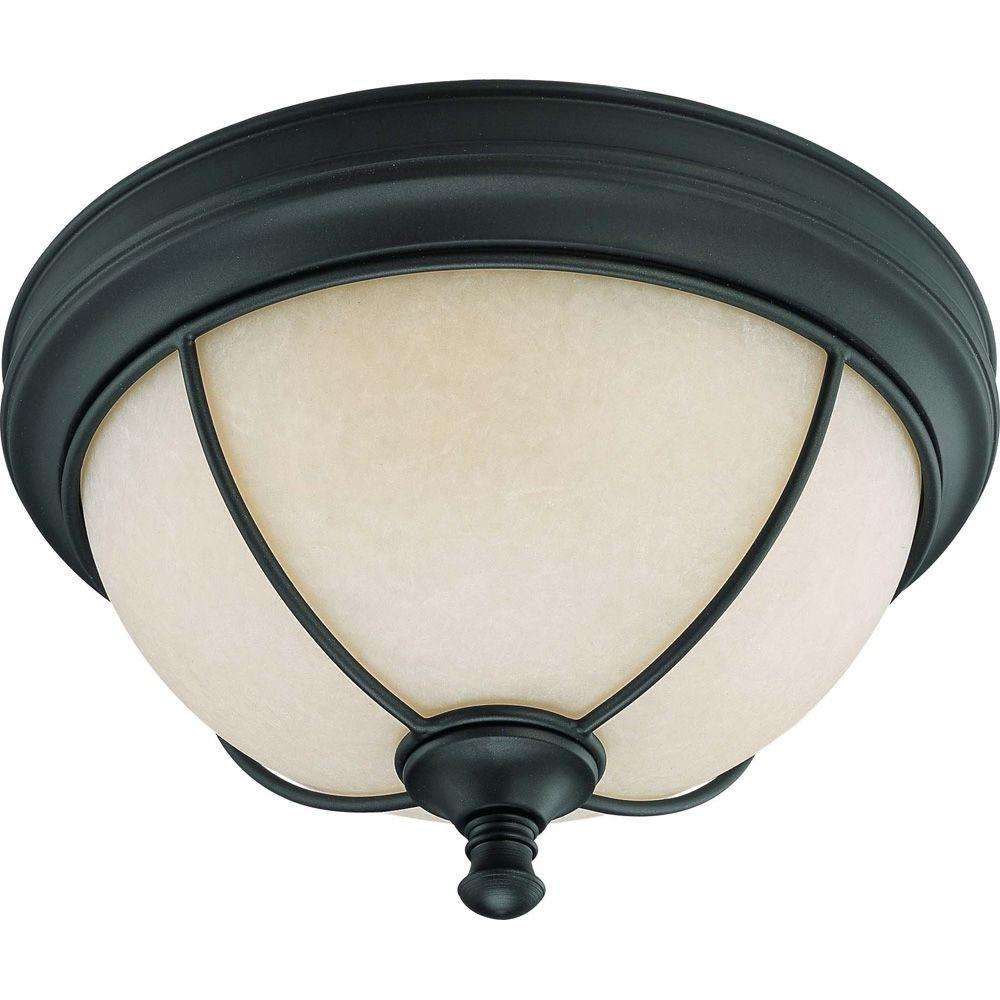 Glomar Salem 2-Light 11 in. Flush Dome with Biscotti Glass Aged Bronze-DISCONTINUED