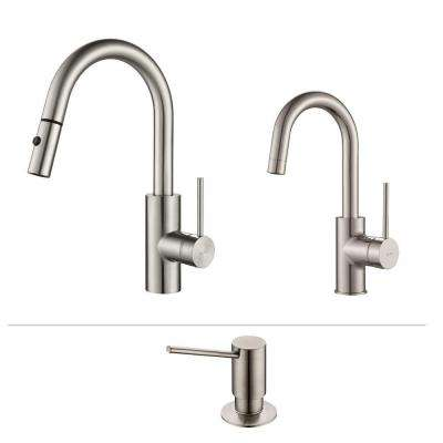 Oletto Single-Handle Pull-Down Kitchen Faucet and Bar Faucet with Soap Dispenser in Stainless Steel