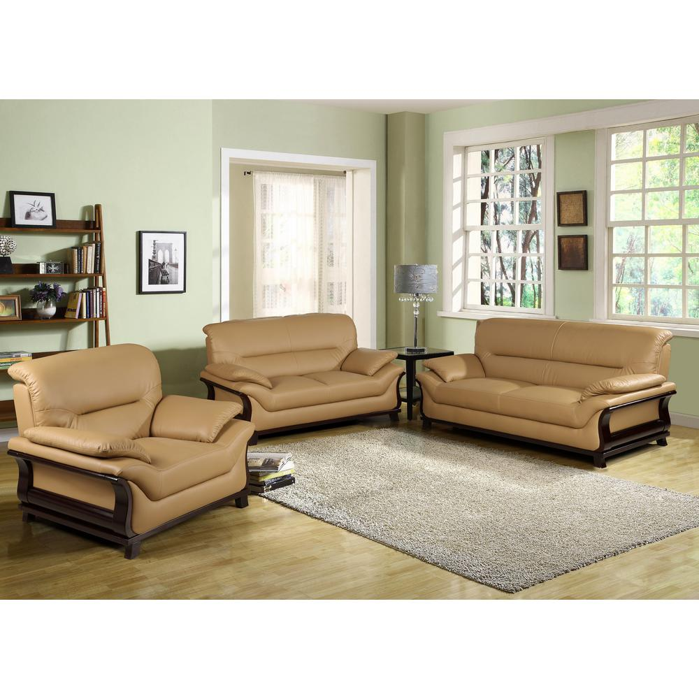 Khaki Bonded Leather Three Piece Sofa Set