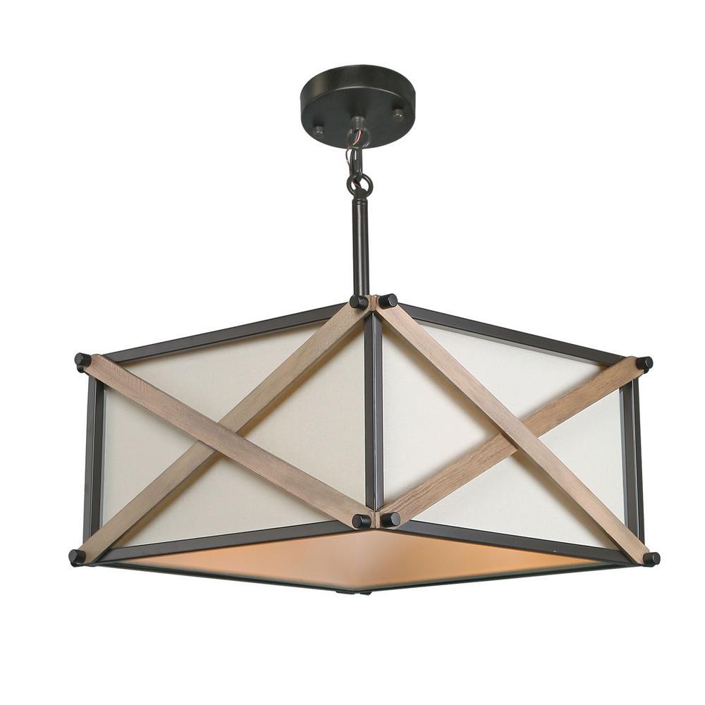 Nezin 16.5 in. 3-Light Bronze Wood Semi-Flush Mount Convertible Pendant