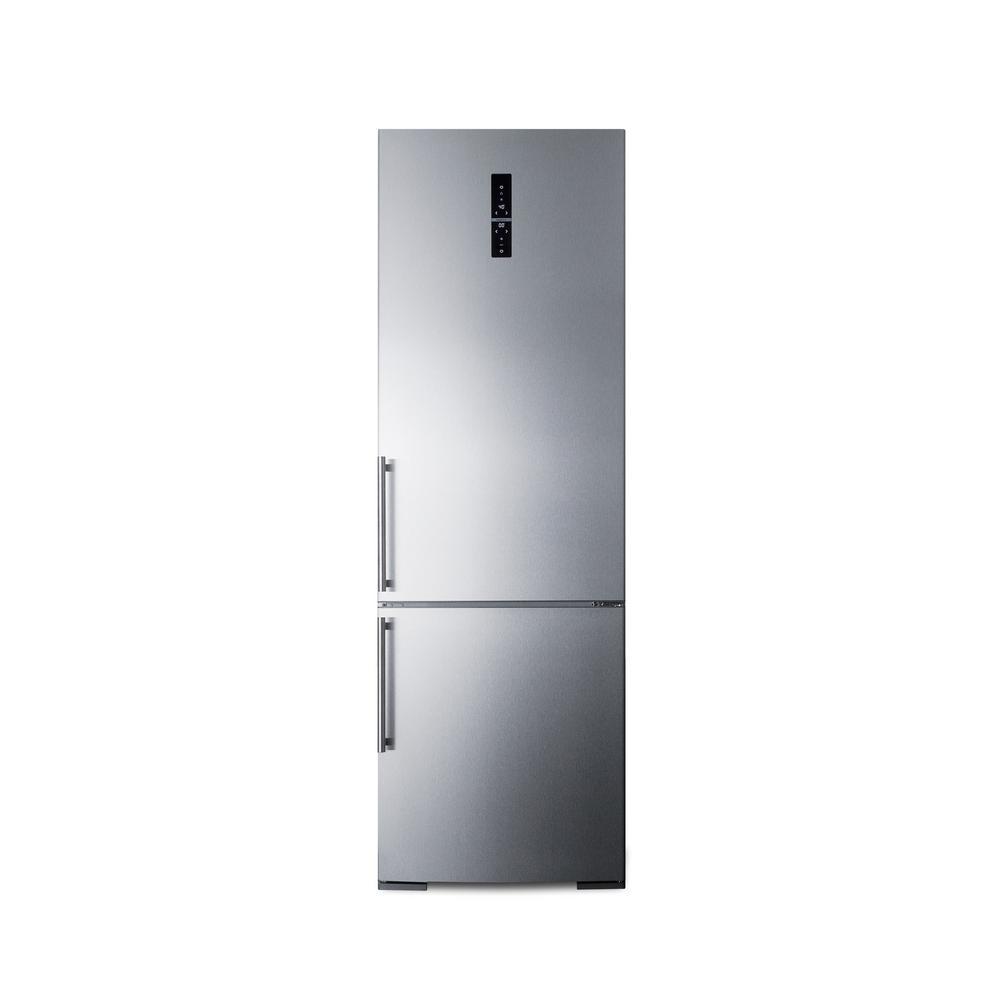 Summit Appliance 24 in. W 11.6 cu. ft. Bottom Freezer Refrigerator in Stainless Steel, Counter Depth