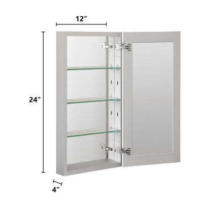 12 in. W x 6 in. H Recessed or Surface Frameless 1-Door Medicine Cabinet with 3-Adjustable Shelves