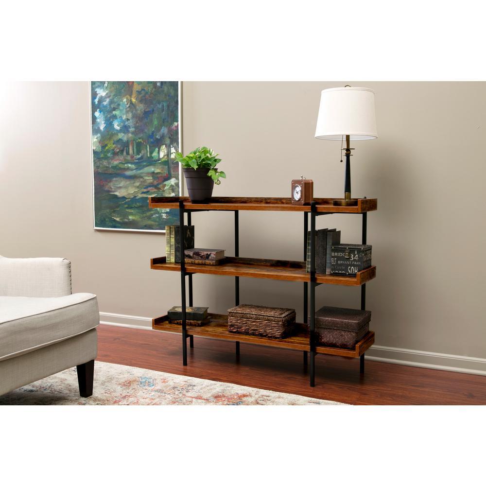 OneSpace Modern Wood and Steel Cherry 3-Shelf Displa