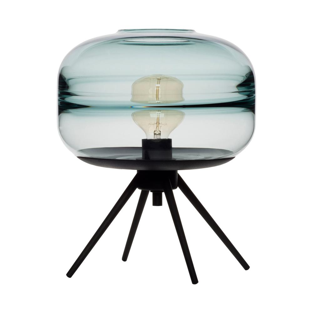 Casamotion Unique Optic Contemporary 14 In. Black Hand Blown Glass Plug In Table  Lamp
