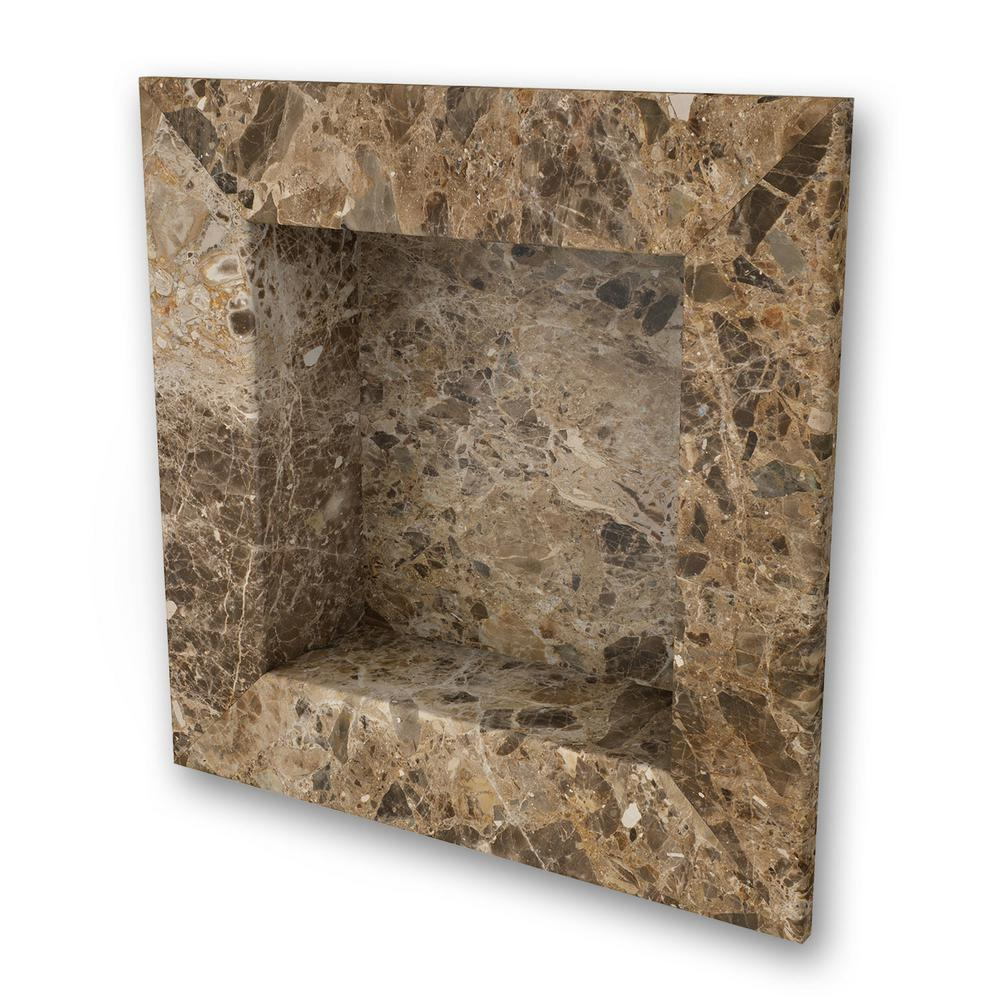 FlexStone 17 in. x 17 in. Square Recessed Shampoo Caddy in Breccia Paradiso