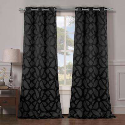 Charlotte 38 in. x 84 in. L Polyester Blackout Curtain Panel in Black (2-Pack)