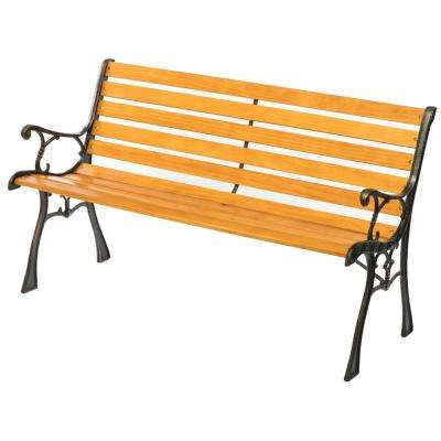 Wooden Outdoor Park Patio Garden Yard Bench with Designed Steel Armrest and Legs