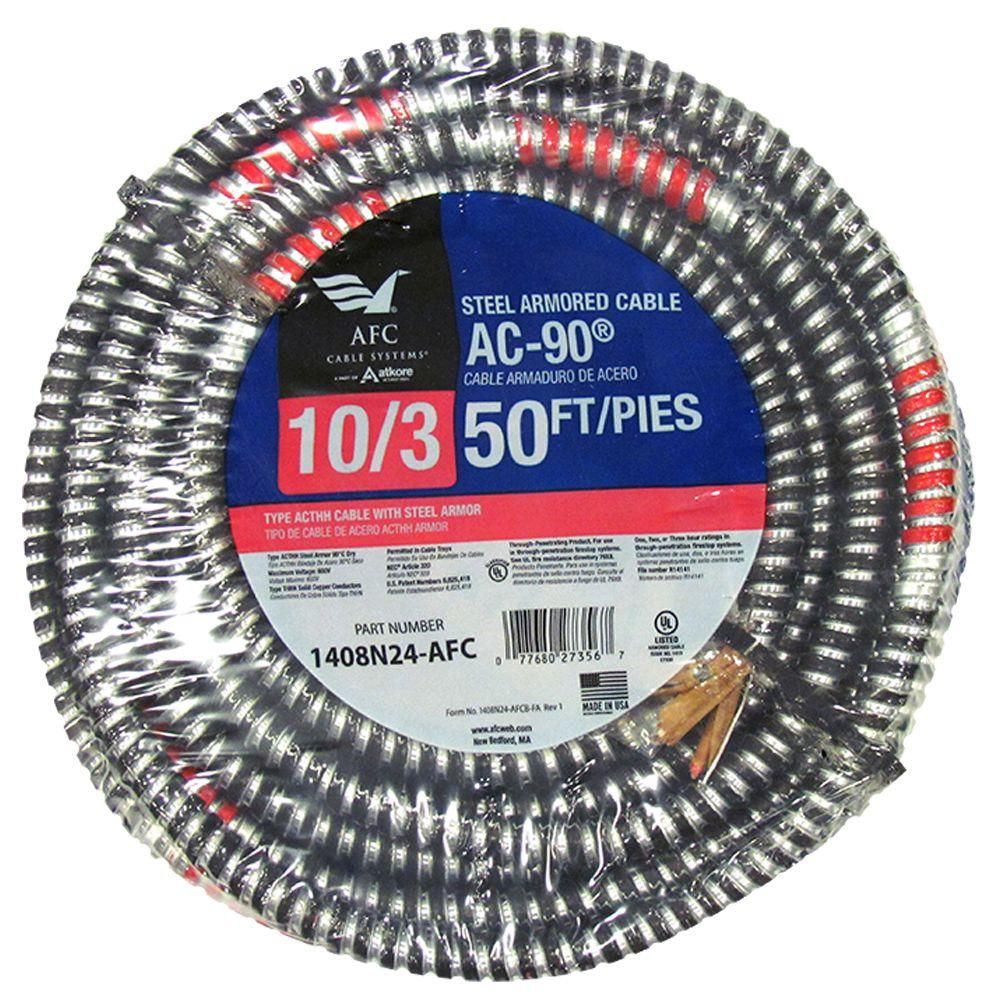 Ac Wire Electrical The Home Depot 10 Gauge Wiring Furnace 3 X 50 Ft Bx 90 Armored Cable