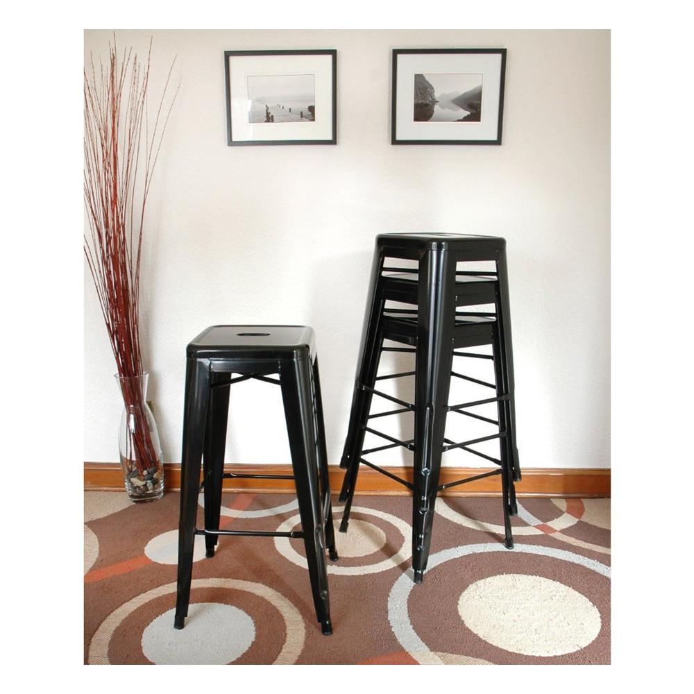 AmeriHome Loft Style 30 in  Stackable Metal Bar Stool in Black (Set