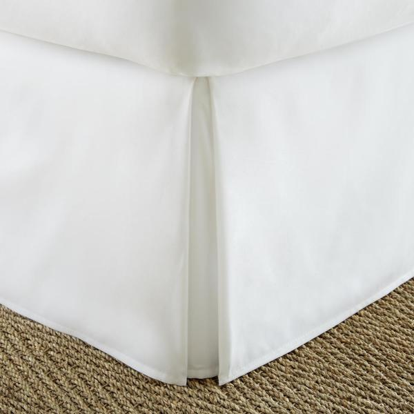 Becky Cameron Pleated Dust Ruffle White Twin XL Performance Bed Skirt