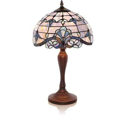 20.5 in. Blue Indoor Table Lamp with Stained Glass Allistar Shade