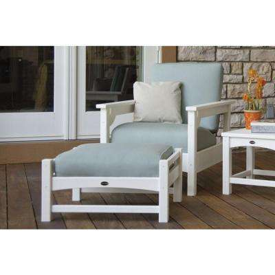 Club White 3-Piece Plastic Patio Deep Seating Set with Sunbrella Spa Cushions