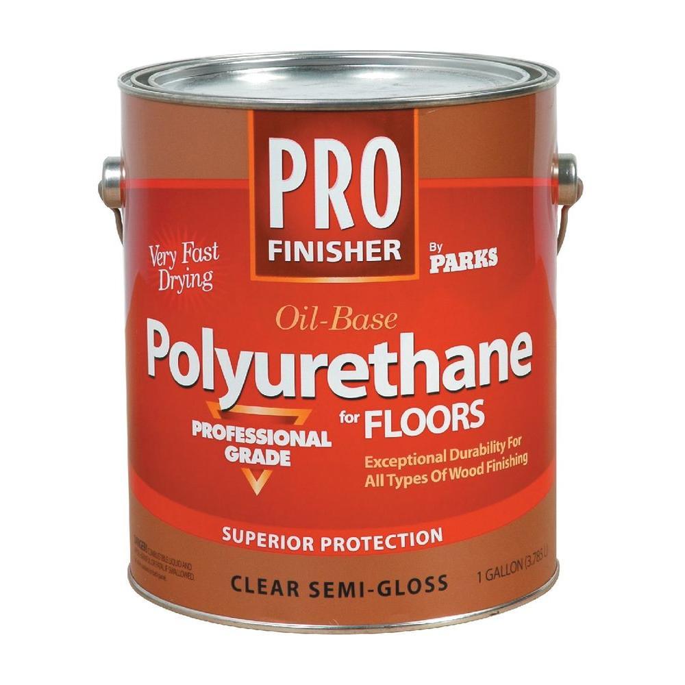 1 gal. Clear Semi-Gloss Interior Polyurethane for Floors (Case of 4)