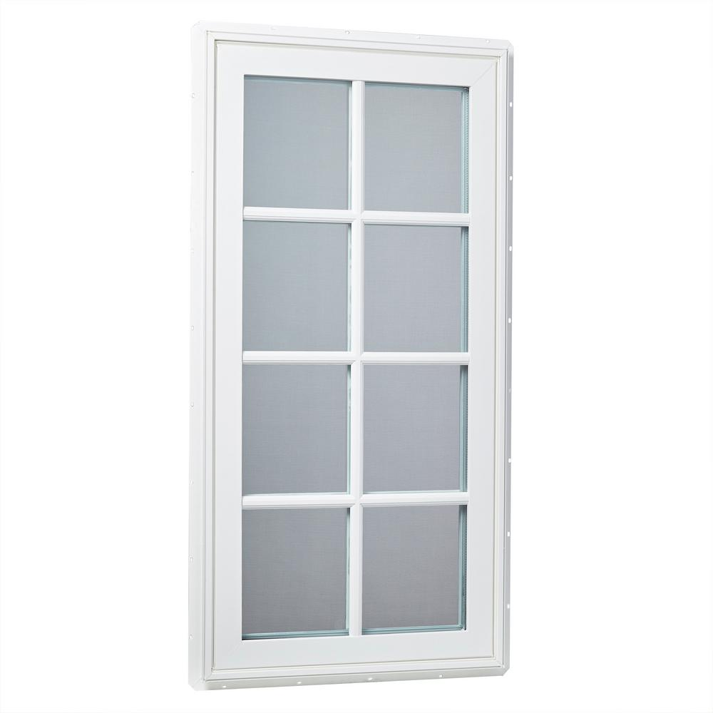 24 in. x 48 in. Right-Hand Vinyl Casement Window with Grids
