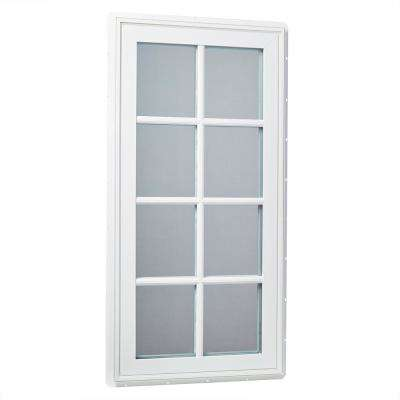 24 in. x 48 in. Right-Hand Vinyl Casement Window with Grids and Screen in White