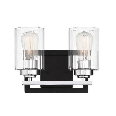 2-Light Matte Black with Polished Chrome Accents Bath Vanity Light with Clear Ribbed Glass