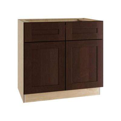 Franklin Assembled 36x34.5x24 in. Double Door Base Kitchen Cabinet, 2 Drawers and 2 Rollout Trays in Manganite