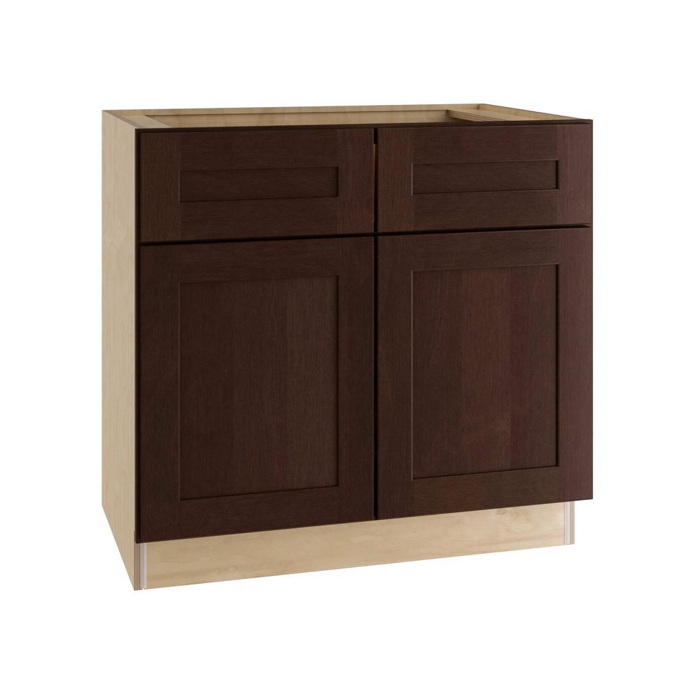 Franklin Assembled 33x34.5x21 in. Double Door & False Drawer Front Base Vanity Sink Cabinet in Manganite