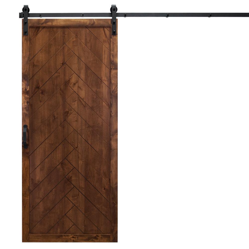 interior barn door hardware rail herringbone walnut alder wood interior barn door dogberry collections 36 in 84
