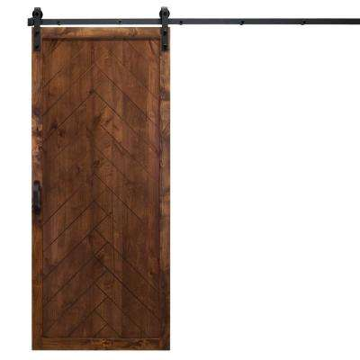 36 in. x 84 in. Herringbone Walnut Alder Wood Interior Barn Door Slab with Sliding Door Hardware Kit