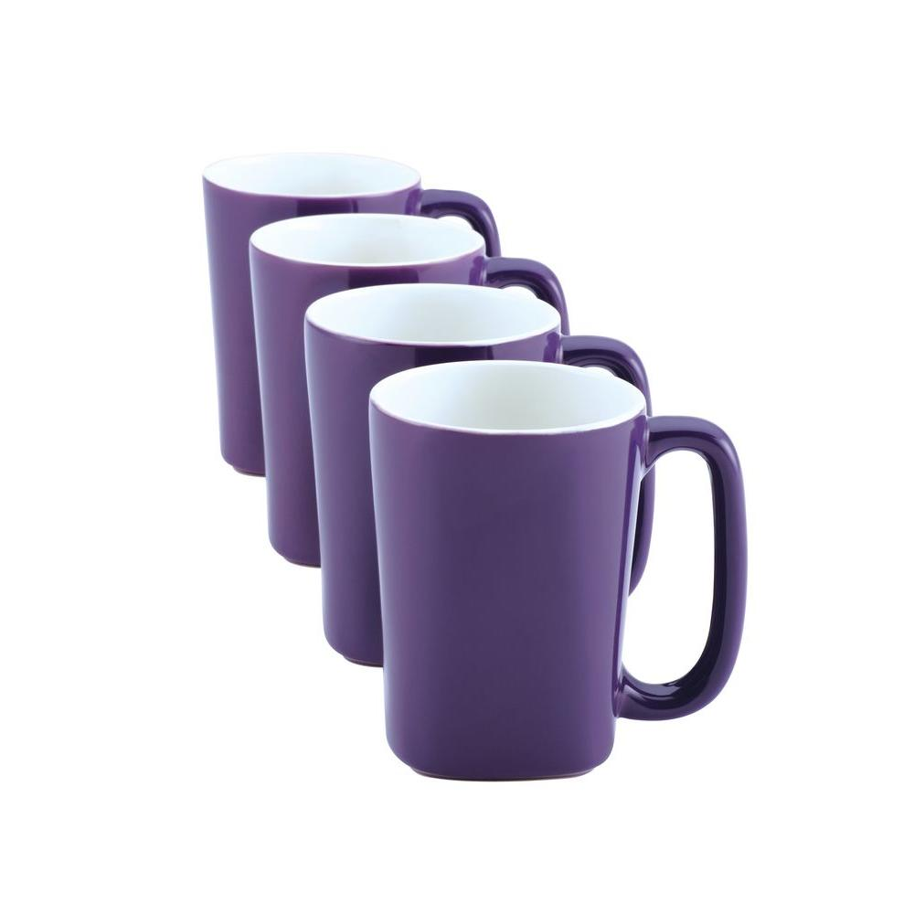 Rachael Ray 14 oz. Mugs in Purple (4-Pack)