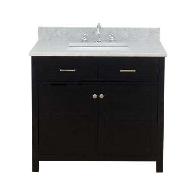 Vancouver 37 in. W x 34 in. H Bath Vanity in Espresso with Marble Vanity Top in White with White Basin