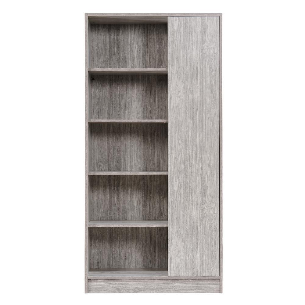 Oak Gray 5-Tier Bookcase with Door