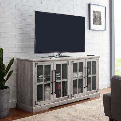 Grey Wash Farmhouse 4-Door TV Console for TV's up to 64 in.