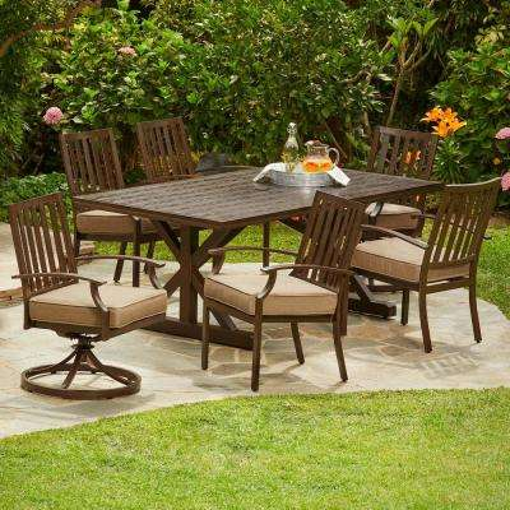 Bridgeport Heights 7-Piece Metal Outdoor Dining Set with Tan Cushions