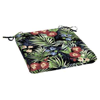 Black Tropical Rectangle Outdoor Seat Cushion
